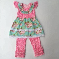 high quality wholesale kids clothing boutique children clothing set baby girl clothes pearl sleeve top with ruffle pants set