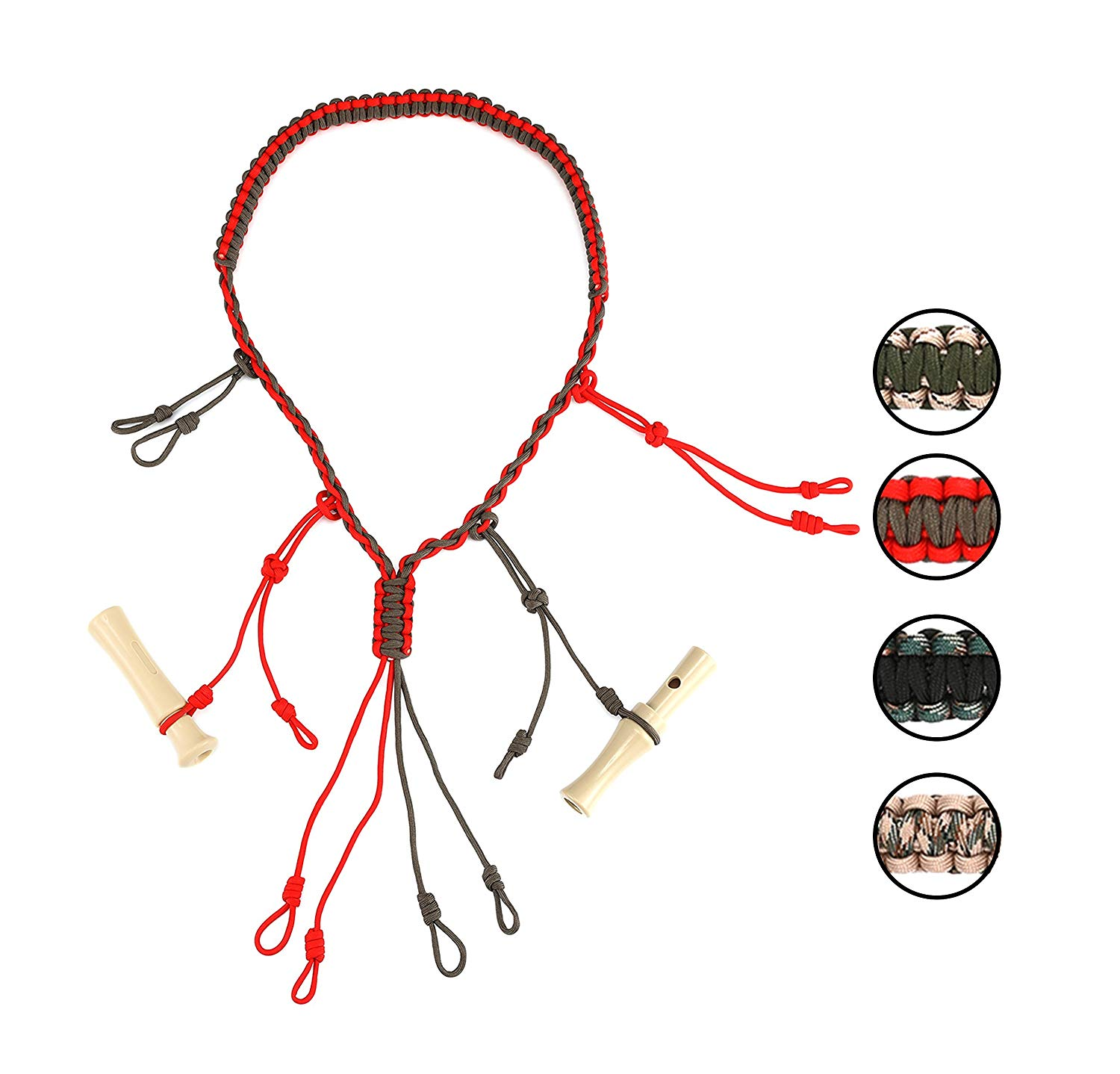 GearOZ Hunting Game Calls Lanyard Paracord With Adjustable Hoops For Holding Any Size Of Duck Calls,Goose Calls, Pheasant Calls,Waterfowl Calls,Predator Calls Securely