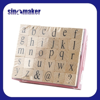 Custom DIY Symbols Alphabet Rubber Wood Stamp Set For Kids Education