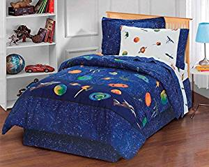 8 Piece Boys Navy Outer Space Comforter Full Set, All Over Planets Satellites Stars Comet Themed, Beautiful Galaxy Star Bedding, Planet Earth Saturn Mars Milky Way, Blue Green Orange Yellow Red