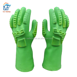 Long Green PVC Coated Anti-Impact TPR Gloves