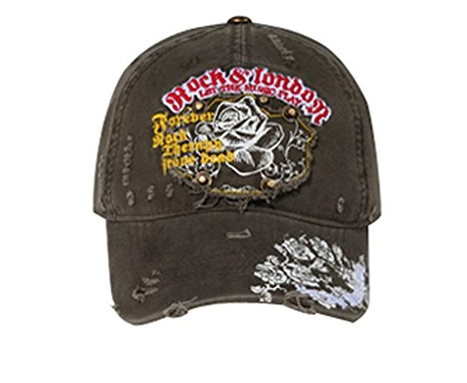 Hats & Caps Shop Printed Roses Distressed Patch with Rivets Caps - By TheTargetBuys