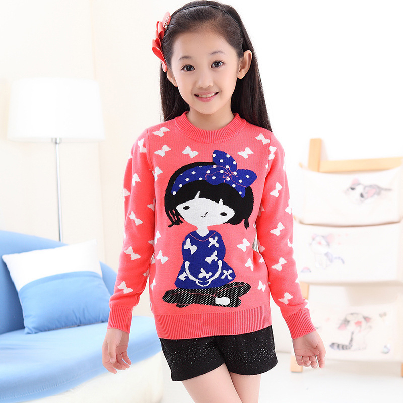 2014 new autumn and winter children's clothing hedging long-sleeved sweater thick wool sweaters Korean children coat cute