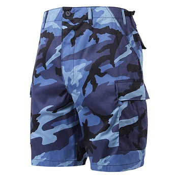 Blue Navy Army Military Camouflage Combat Uniform Cargo Workout Shorts with Pockets