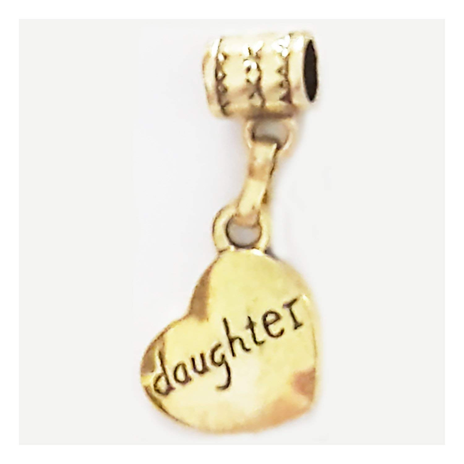 """Daughter"" Gold-Plated Heart-shaped Hanging charm by Mossy Cabin for modern large hole snake chain charm bracelets, or add to a neck chain, pendant necklace or key chain"