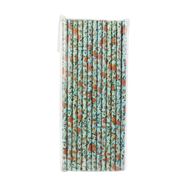 Top selling pretty Retro blue background roses customized craft paper straws