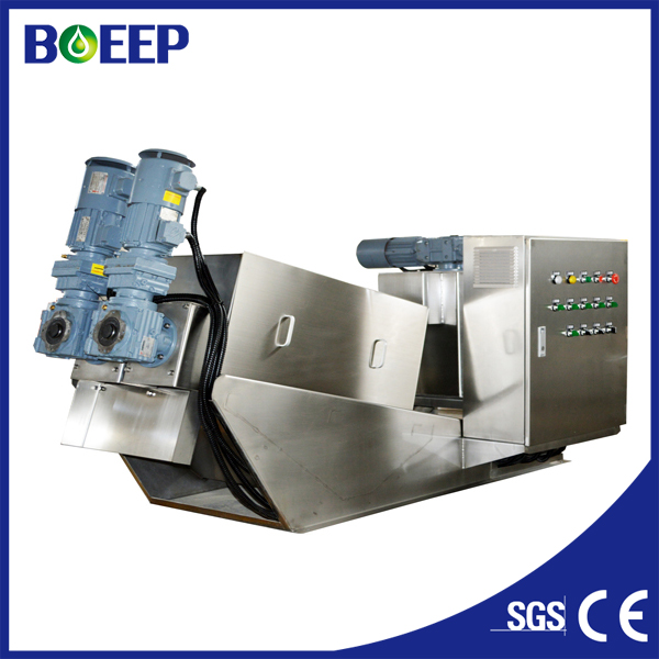 Low maintenance sludge dewatering equipment with clog free construction to replace belt filter press (MYDL101)