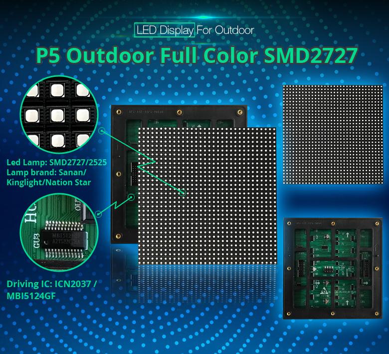 Gute einheitlichkeit p5 smd2727 led-anzeige wand