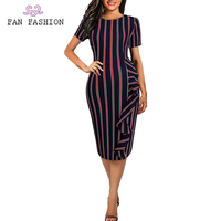 Casual stitching round neck short sleeve women office dress, striped business attire for career