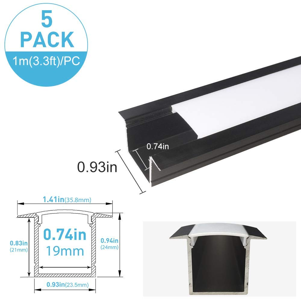inShareplus U Shape LED Aluminum Channel System With Milk White Cover, End Caps and Mounting Clips, Aluminum Profile for LED Strip Light Installation, U05 Model, 5 Pack, 3.3ft/1 Meter, Black
