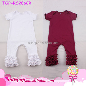 196d021bedf8 Wholesale Solid Baby Girl Romper blank white Baby jumpsuit firm Ruffle  Icing Romper with lap shoulder