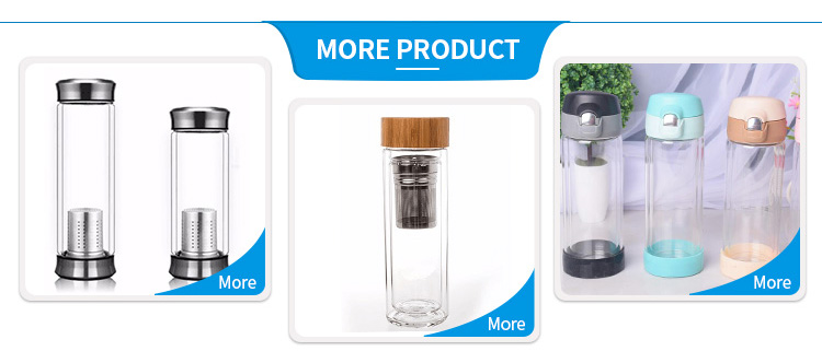 Fancy 400ml Borosilicate Glass Water Bottle with Filter