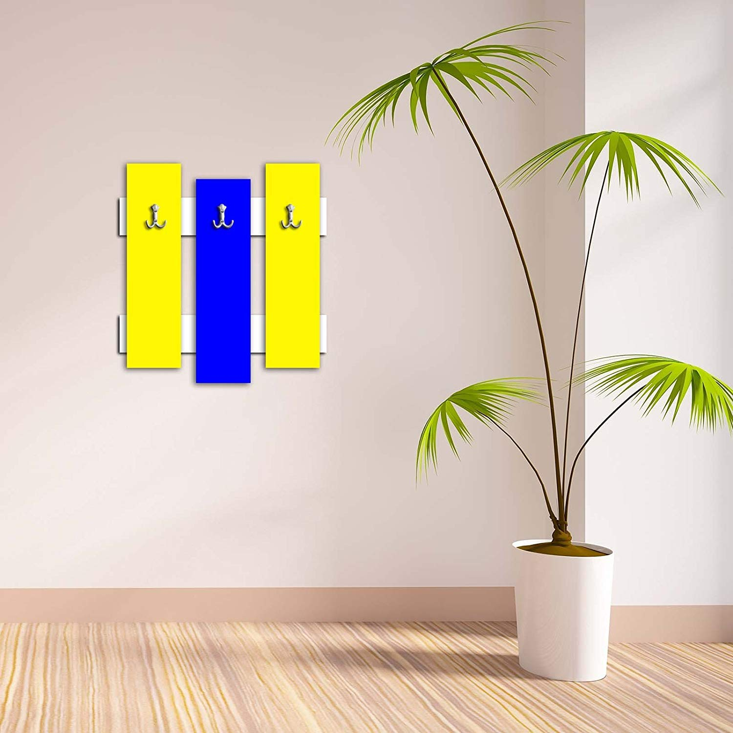 Decorative Wall Hook 3 Pcs Metal Key Holder 100% MDF Mounted Hanging Home Decor, Perfect for Foyers Entryway, Door Coats Hats Towels Scarfs Bags Red- Yellow Simple Pattern Design Basic Plain
