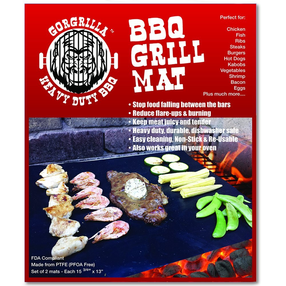 Gorgrilla(TM) BBQ Grill Mat, Set of 2 - As Seen on Tv - Reduce Clean Up Time - Stop Flare-ups and Burning of Your Food - FDA Compliant, PFOA Free, Heavy Duty, Durable, Reusable, Non Stick, Easy Clean