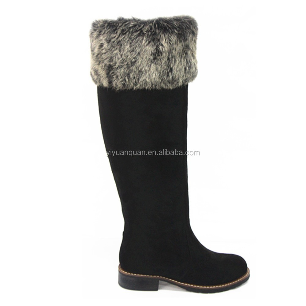 Black Ladies Flat Heel Fashion Women Winter Boots Shoes With Fur ...