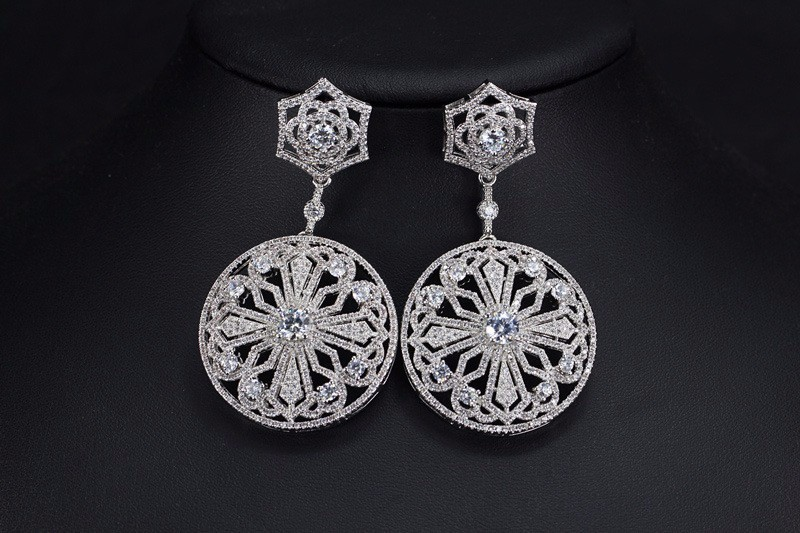 vintage elegant flower designs earring bridal party accessories wholesale cz stud earrings white gold