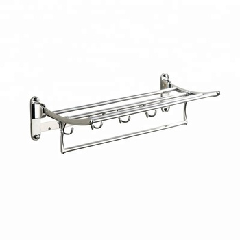 Towel Racks Double With Hooks Type and Chrome Surface Finishing bathroom