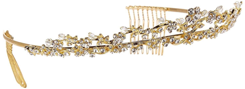 Unik Occasions Gold Double Strand Rhinestone Tiara Headband
