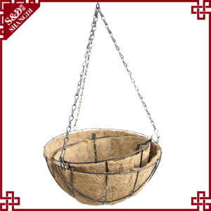 S&D New Design Garden Decoration Wire Hanging Basket flower pot With Coco Liner