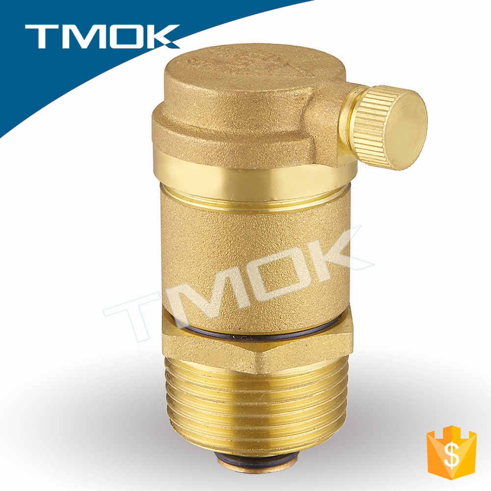 brass small automatic air vent valve with brass color cast cooper single ball air vent valve