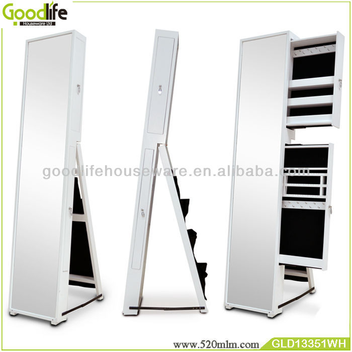 Stock mirrored jewelry cabinet best selling products wall hanging jewelry armoire with mirror in white