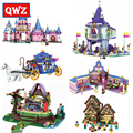 QWZ Friends Series Chateau Princess Snow White Queen s Palace Carriage Girl Toy Building Blocks Assembled