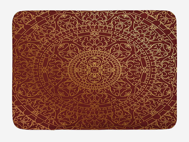 Lunarable Maroon Bath Mat, Antique Arabic Artwork Oriental Mandala Inspired Round Ornament Moroccan Ethnic, Plush Bathroom Decor Mat with Non Slip Backing, 29.5 W X 17.5 W Inches, Gold Maroon
