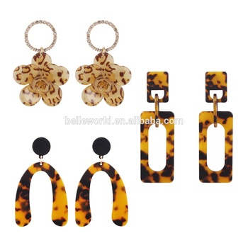 Hot-selling flower shaped  leopard print hoop acrylic acetate jewellery earrings