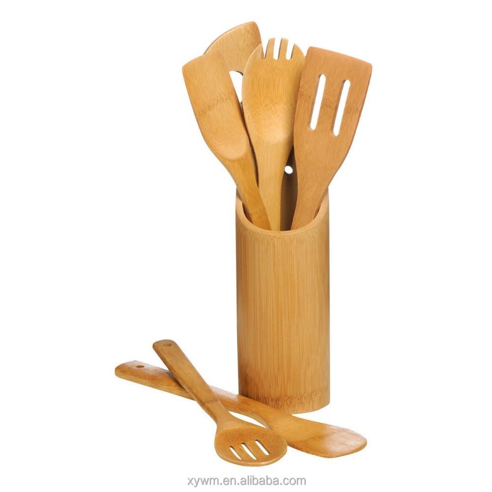 Madera de bamb utensilio de cocina porta vasos 6 unidades for Porta utensilios cocina