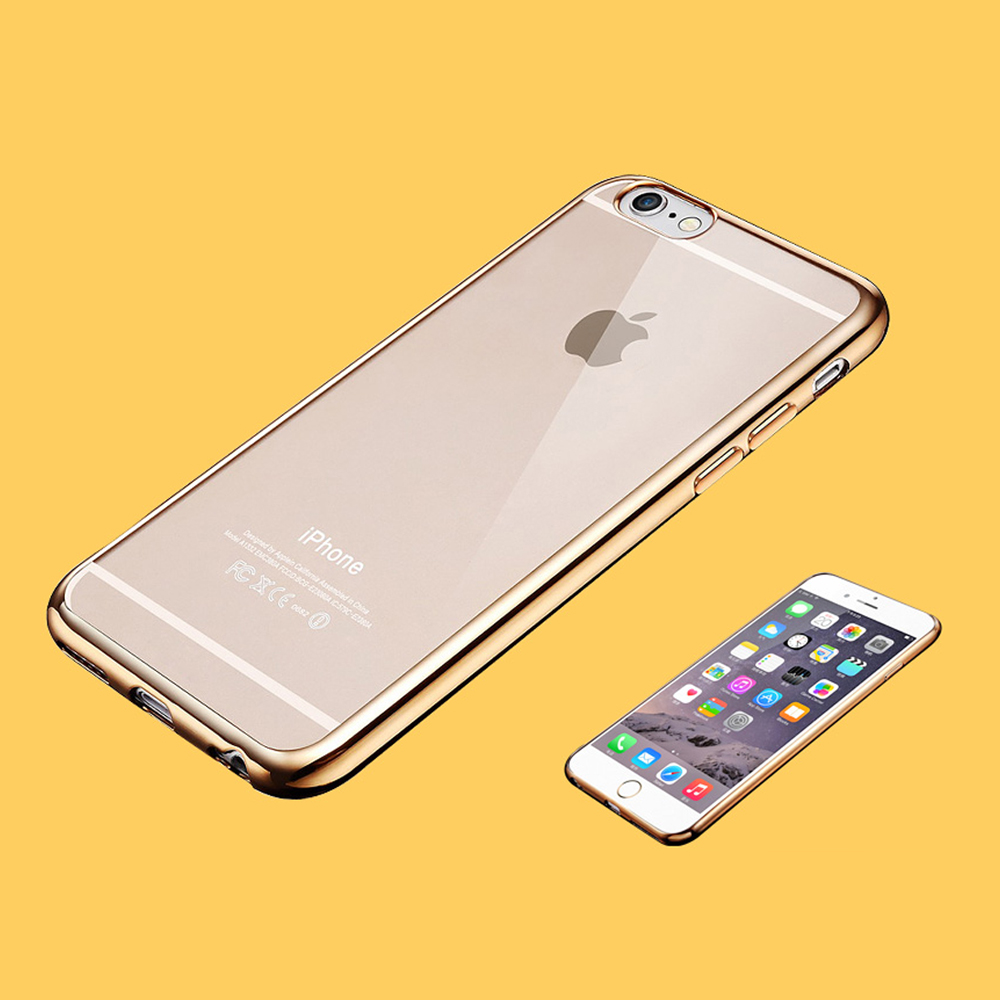 Drop shock water protectly Clear back+Electroplate frame 0.8mm soft TPU mobile cell phone case cover for iphone 6 6s 7 7plus