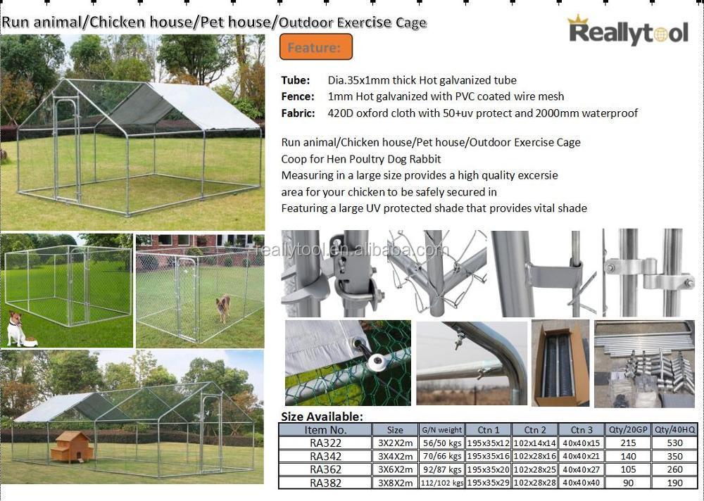20x10ft Chicken Run Walk In Coop Metal Cage For Poultry Rabbit Hen ...
