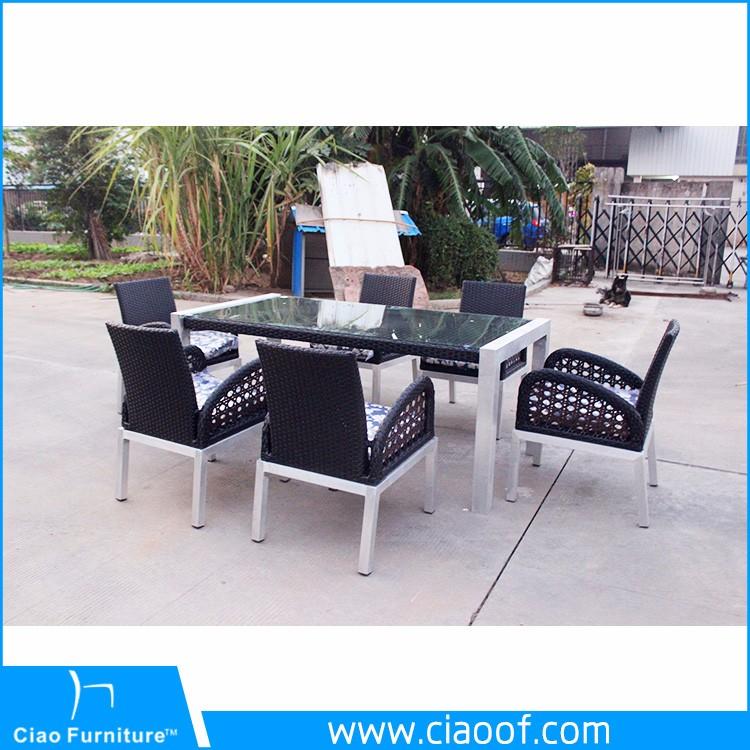 heißer verkauf allwetter außen glas 6 sitzer esstisch set luxus, Esstisch ideennn