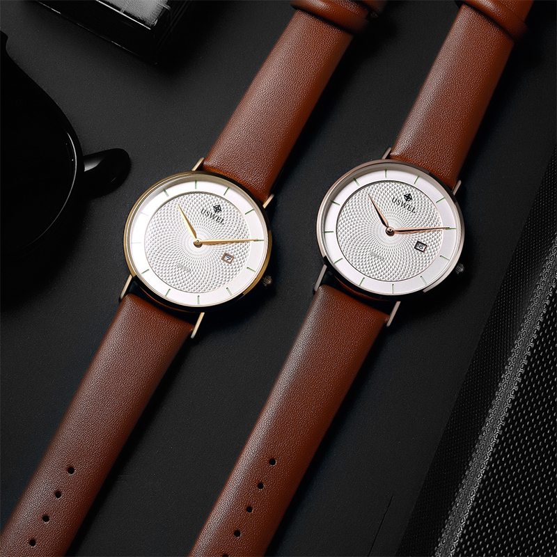 Custom Logo Movt Quartz Minimalist Watch Luxury Wrist Watches Men with Leather Watch Strap