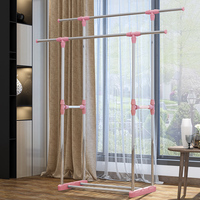 Telescopic double pole cloth hanger standing plastic laundry clothes drying rack