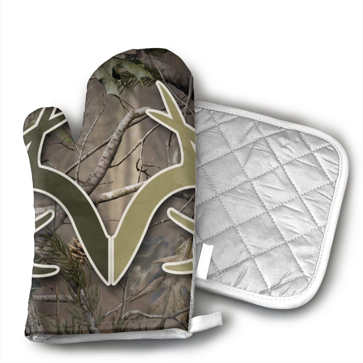 Realtree Camo Wallpapers Oven Mitts Gloves 2 Set Microwave BBQ Oven Cotton Baking Pot Mitts, Kitchen Glove Heat Resistant Cook Gloves Mitts Cooking, Baking, Barbecue Potholder, Present