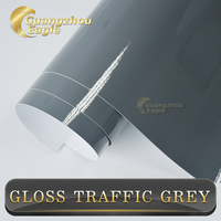 1.52x20m Premium Pattern Popular Glossy Adhesive Grey Gloss Vinyl Wrap Car