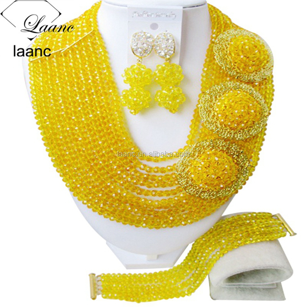 Yellow African Beaded Party 18-inch Wholesale Necklace Earrings Nigeria Wedding Brides 10 Layered Jewelry Set
