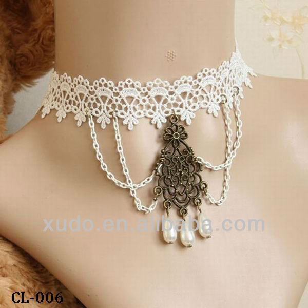 wedding or party fashion Victorian Gothic lace fashionable necklaces pendent