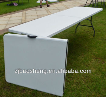 2.4M Long Plastic Camping Tables Half Folding Tables White Color Folding  Furniture
