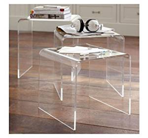 Gracelove Modern Acrylic Nesting End Table Coffee Table 3pc Lucite Side Home