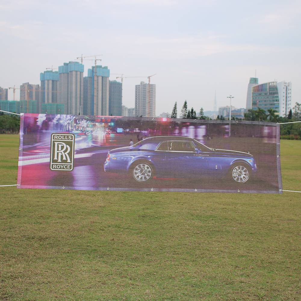 Customizable design good quality mesh vinyl banner, bright and clear color polyester banner fabric pennant banner