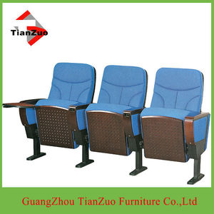 (Theater seating chairs outdoor)Fabric and wood theater seating chairs outdoor with writing pad