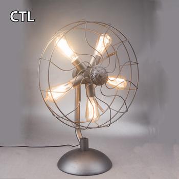 En Forme D Eventail Lampe De Bureau E27 Edison Ampoule Vintage Gris