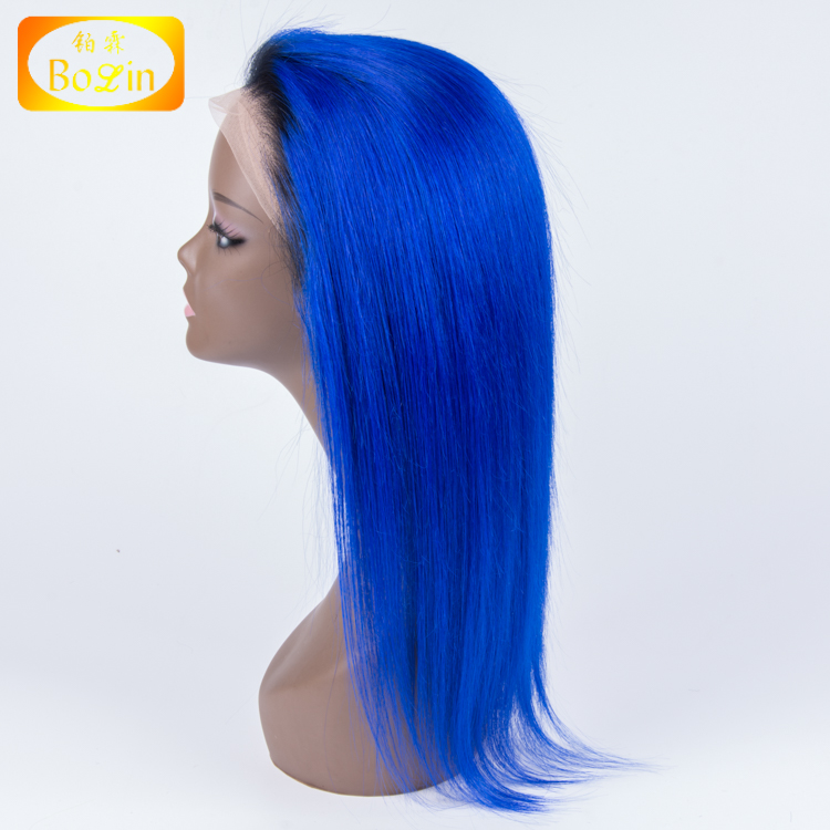 9A Mink Brazilian Hair Wig Ombre 1b Royal Blue Silky Straight 130 Density Swiss Lace Brazilian Hair Full Lace Wig