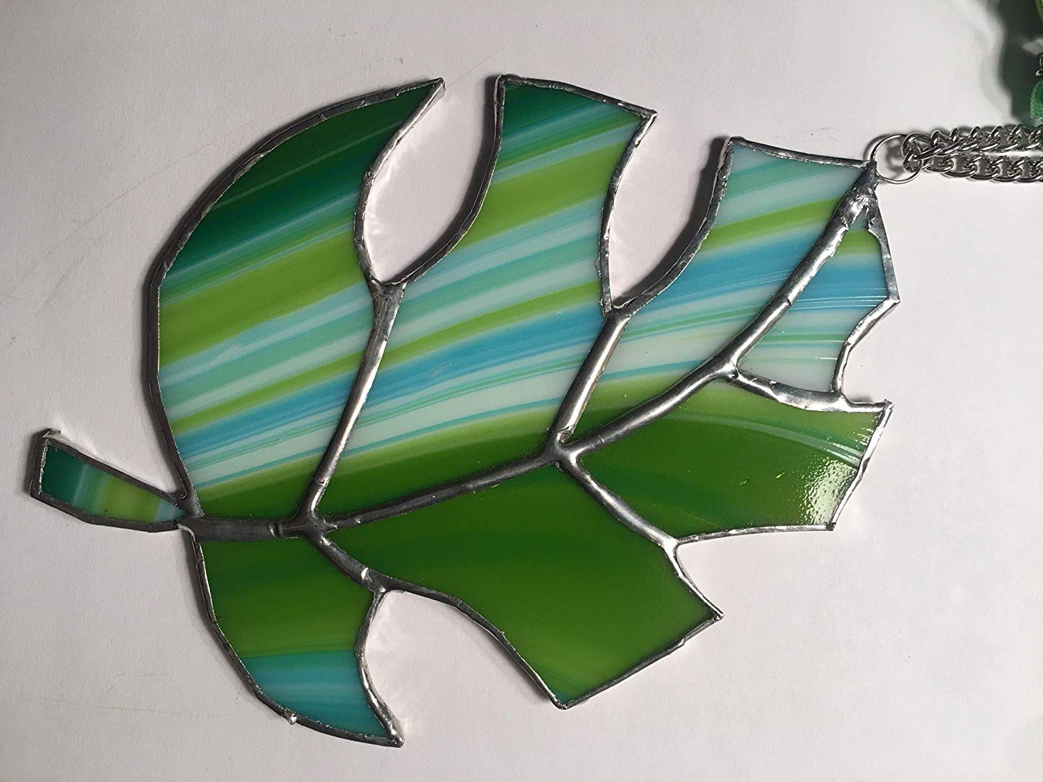 handmade stained glass leaf monstera sun catcher