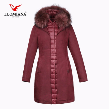 New design padding plus size red long winter women down jacket with fur collar