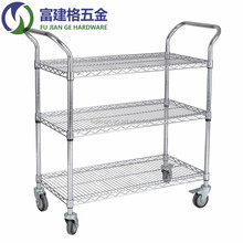 "Double Handrail Trolley Cargo Trolley 3 Tiers with 4"" PVC Wheels"