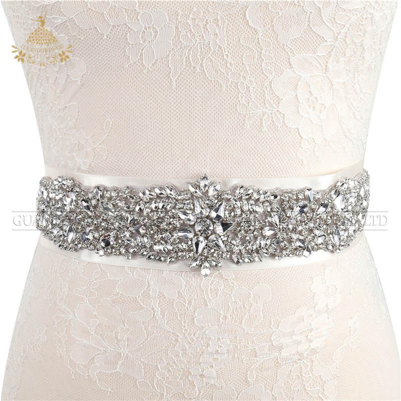 Mode Applique Crystal Elegant Wedding Voor Jurk Riemen Met Lint