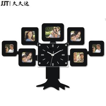Mdf Wooden Large Wall Clock Family Tree Shape Wall Decor Photo Frame ...