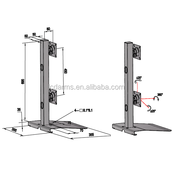 Adjustable Direct Pole Mounting Arm Support Desktop Lift Bracket Height  Adjustable Computer Lcd Monitor Stand